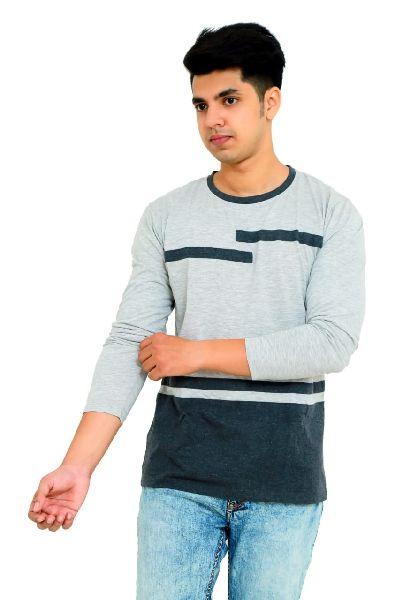 Mens Striped Full Sleeve T Shirt