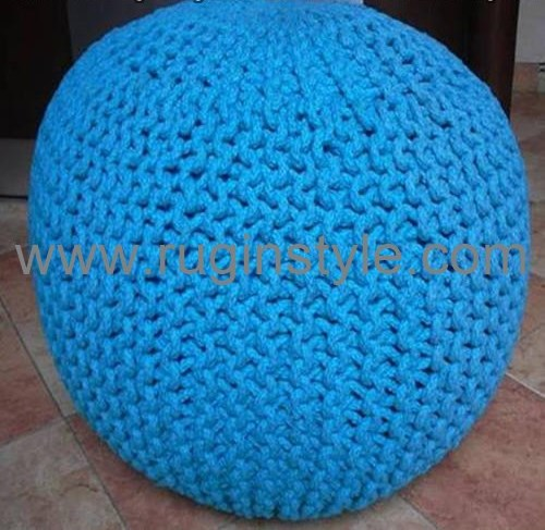 Handmade Cotton Knitted Pouf