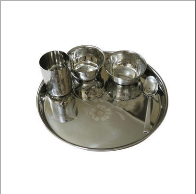 5 Pieces Laser Steel Thali Set