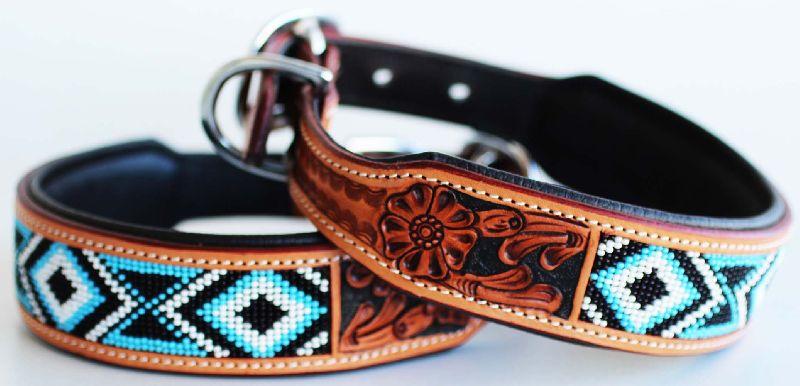 Leather Beaded Dog Collar