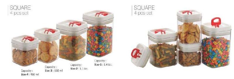 4 Piece Square Food Storage Container Set