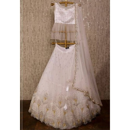 White Party Wear Lehenga Choli