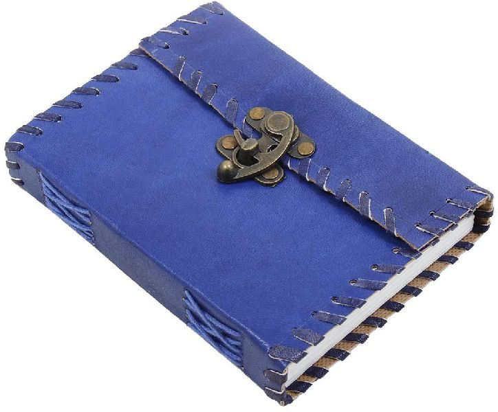 Blue Leather Metal Lock & Unlined Eco-friendly Journal Diary