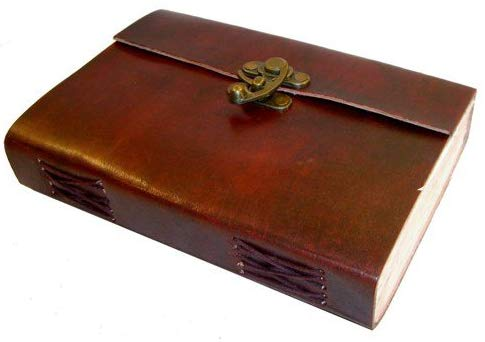 Brown Leather Metal Lock & Unlined Eco-friendly Journal Diary