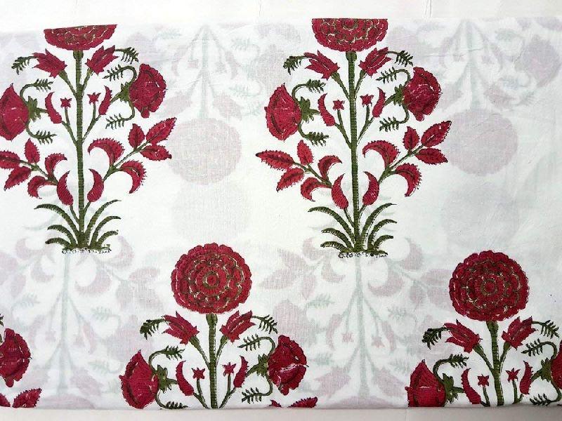 Cotton Jaipuri Bagru Hand Block Printed Fabric