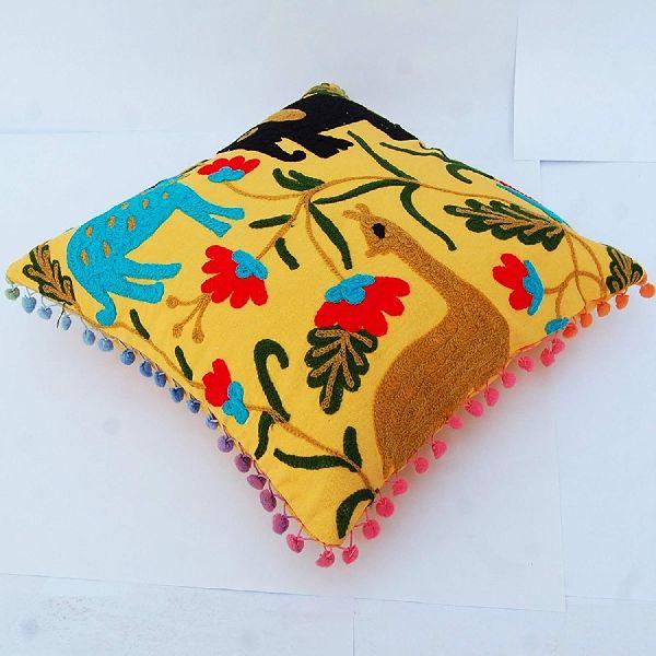 Suzani Home Decor Floral Embroidered Cotton Square Cushion Cover