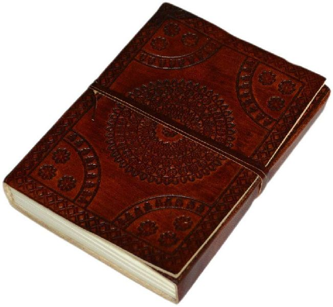 Mandala Patterned Leather Journal Diary