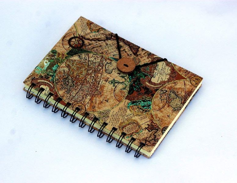 Map Printed Cardboard Travel Journal Diary
