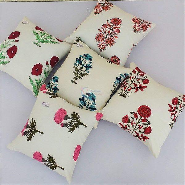 Multicolor Block Print Square Cotton Cushion Cover