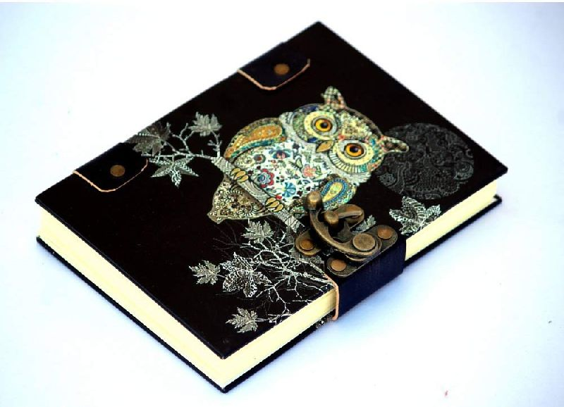 Owl Printed Cardboard Travel Journal Diary