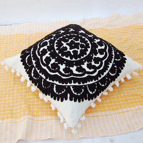 Pom Pom Uzbek Suzani Embroidery Square Cotton Cushion Cover