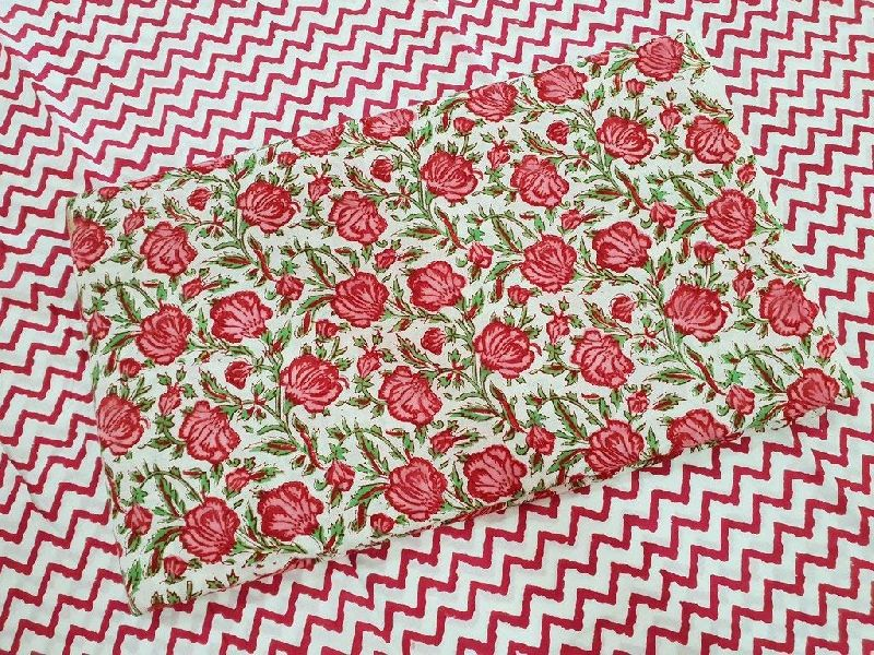 Red & Green Printed Cotton Cambric Fabric