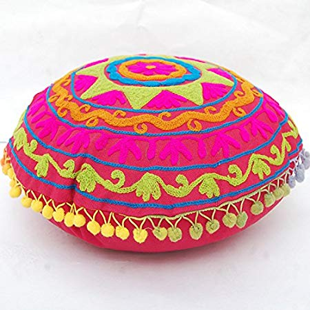Suzani Star Ethnic Floral Embroidery Cotton Square Cushion Cover