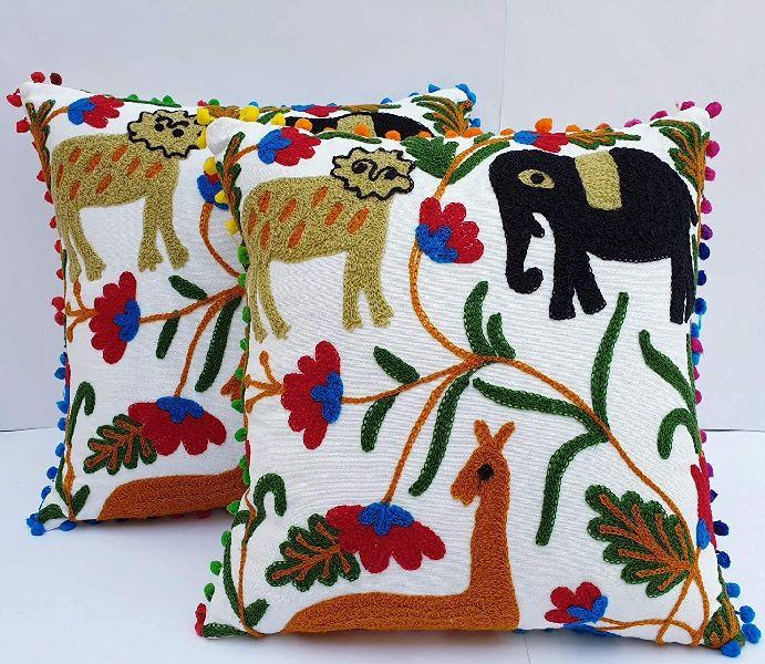 Suzani Animal Embroidered Square Cotton Cushion Cover