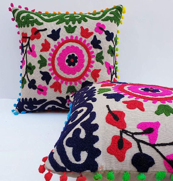 Suzani Bells Embroidered Square Shape Cushion Cover