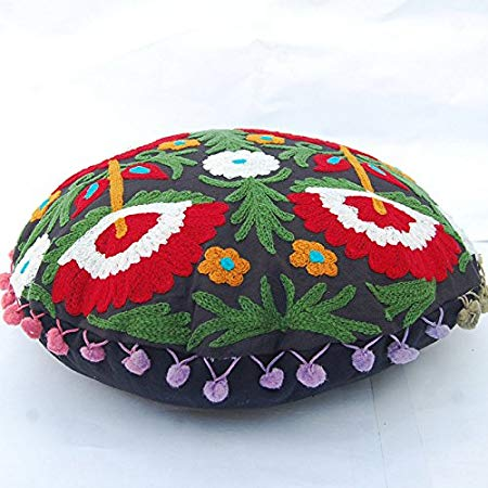 Suzani Floral Embroidered Round Cotton Cushion Cover