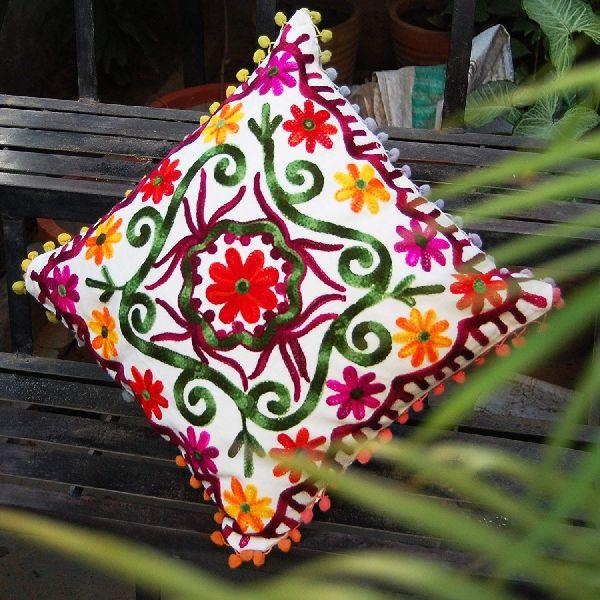 Suzani Home Decorative Cotton Embroidered Square Cushion Cover