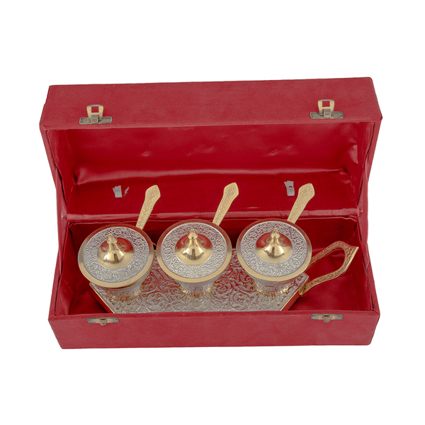 Brass Trolley Bowl and Spoon Set