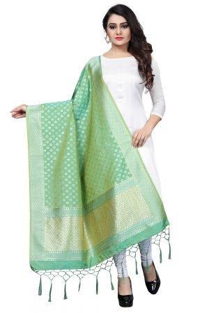Green Color Silk Weaving Dupatta