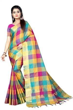 Multicolor Checked Cotton Sarees