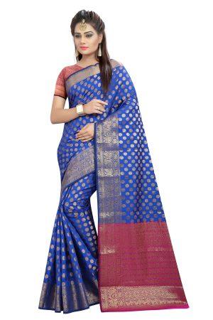 Banarasi Blue Color Silk Saree
