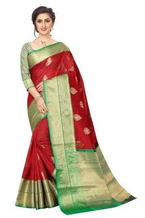 Banarasi Red Color Rich Pallu Saree With Blouse Piece