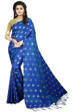 Designer Blue Color Silk Saree