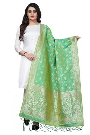 Green Color Silk weaving Dupatta