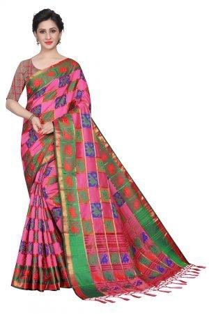Ikkat Patola Light Pink Color Checkered Silk Saree