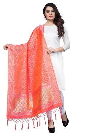 Orange Color Silk Weaving Dupatta