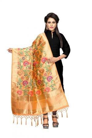 Peach Color Silk Weaving Dupatta