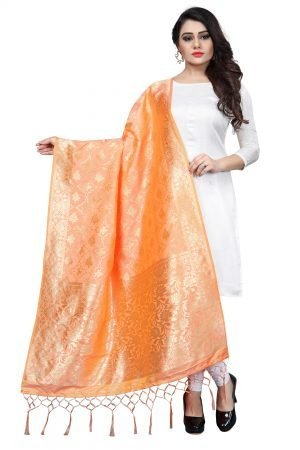 Peach Color Silk weaving Dupatta