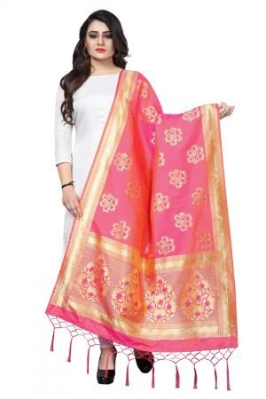 Pink Color Silk weaving Dupatta