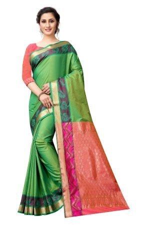 Soft Leheriya Green and Pink Color Silk Saree