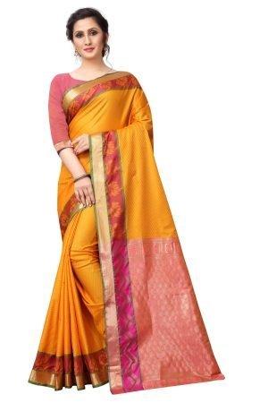 Soft Leheriya Yellow and Pink Color Silk Saree