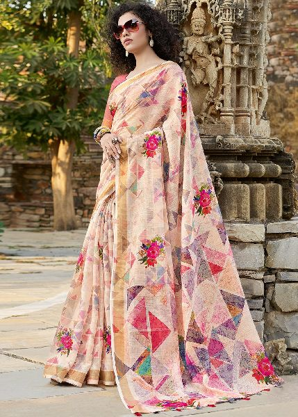Digital Printed Bhagalpuri Silk Saree