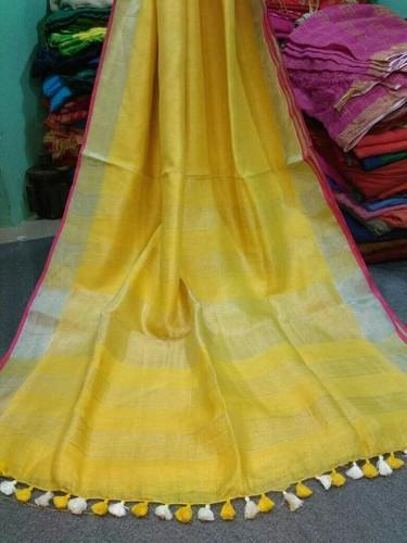 Yellow Plain Linen Saree