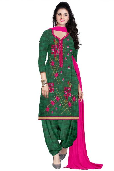 Cotton Printed Embroidered Suit Material