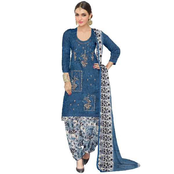 Jam Cotton Printed Thread Embroidered Suit Material