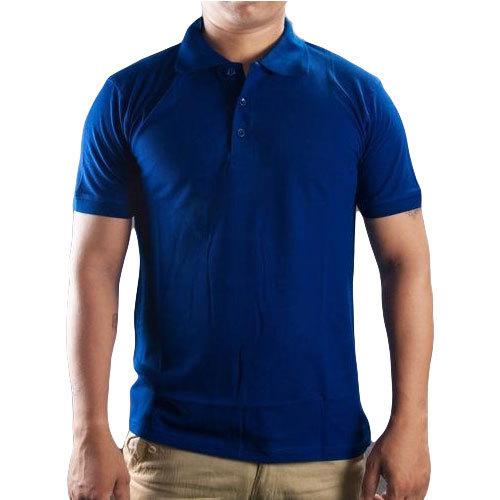 Mens Cotton Blue Collar T Shirt