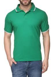 Mens Cotton Green Collar T Shirt
