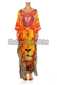 Animal Print Long Embellished Kaftan