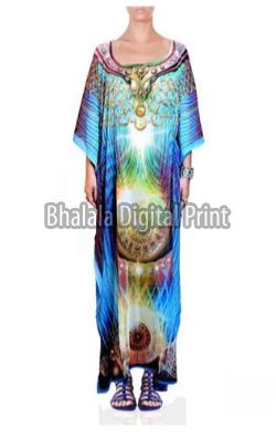 Digital Print Long Embellished Silk Kaftan