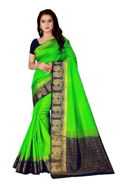 Double Peacock Kanjivaram Tussar Silk Saree