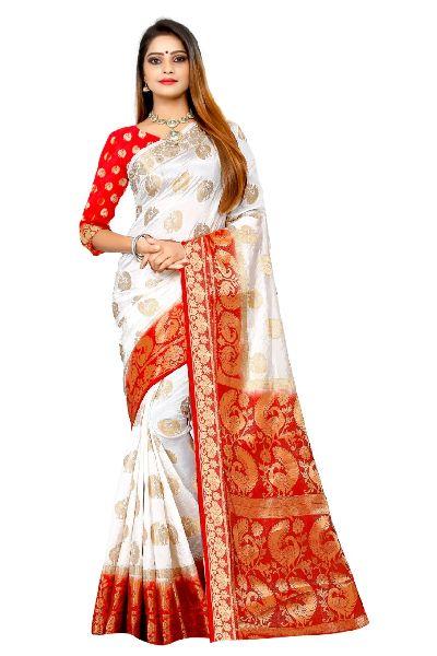 White Lady Kanjivaram Tussar Silk Saree