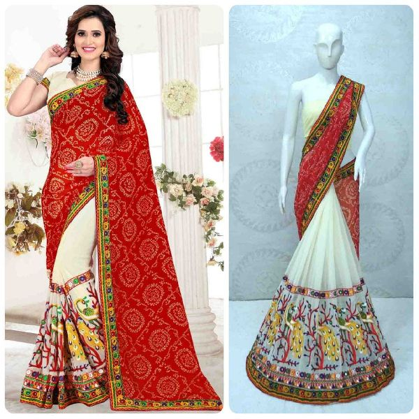Kutchi Peacock Work With Real Mirror Georgette Saree