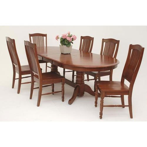 Oval Wooden Dining Table Set