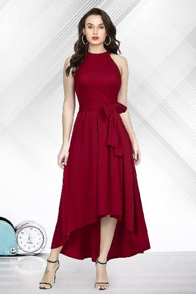Brown Knee Length Gown