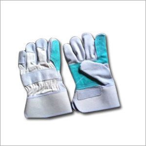 Blue & White Leather Working Gloves