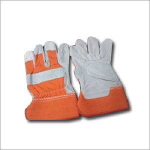 Orange & White Leather Working Gloves